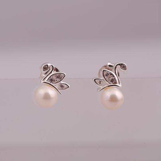 Opal - hoa tai bạc kết hợp ngọc trai trẻ trung - HT13