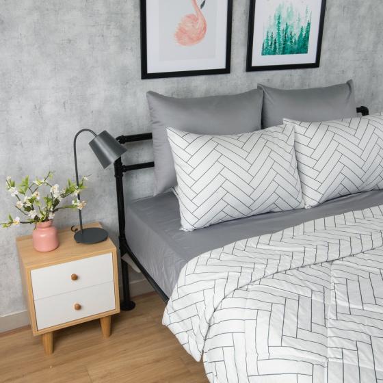 Bộ chăn drap cotton satin Hàn Quốc 5 món Pattern Lover 03 1m6x2m