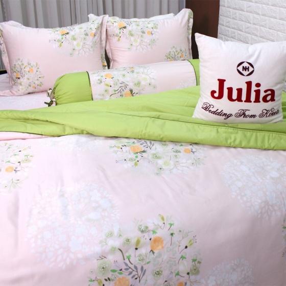 Bộ vỏ chăn ga gối satin gấm tơ tằm nhập khẩu Hàn Quốc Julia (bộ 5 món có vỏ chăn) 754BM16