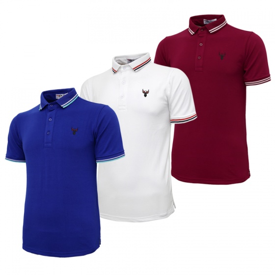 Bộ 3 áo thun nam cổ bẻ logo ép 3D chuẩn phong độ Pigofashion AHT16 đỏ, trắng, xanh bích