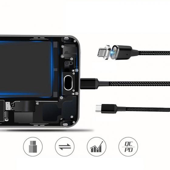 Cáp sạc nam châm Type C dài 1.8m cho điện thoại, laptop nguồn 86W Promax Magnetic Cable