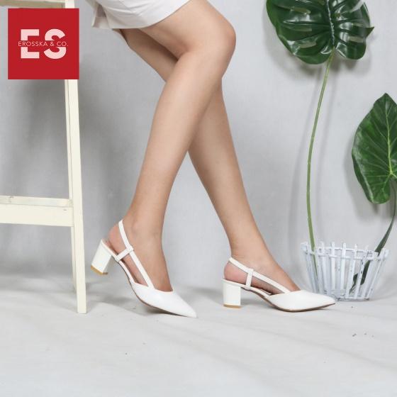Giày nữ, giày cao gót kitten heel erosska đế vuông cao 5cm phối dây thời trang - EH021 (BR)