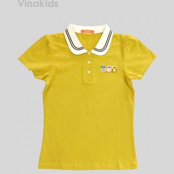 Áo thun bé gái có cổ Vinakids thêu chim (6-11 tuổi)