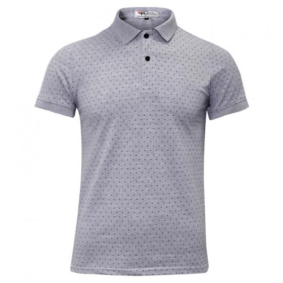 Bộ 3 áo thun nam cổ bẻ chấm bi họa tiết in cao cấp phong cách AHT18 xám, trắng, xanh đen