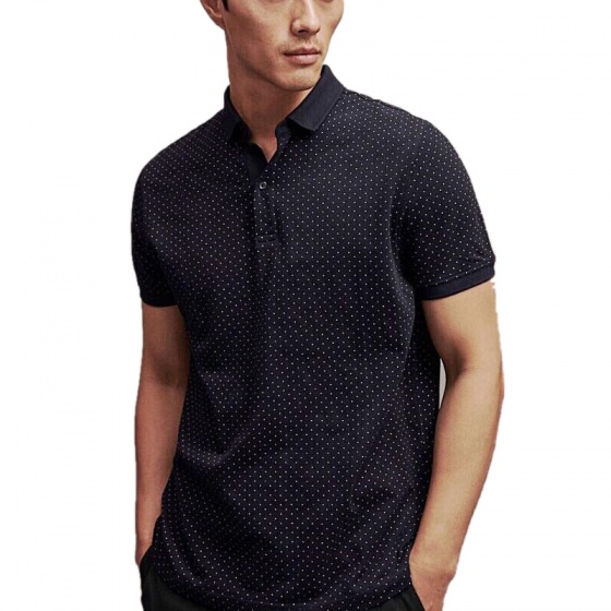 Bộ 3 áo thun nam cổ bẻ chấm bi họa tiết in cao cấp phong cách AHT18 đen, trắng, xanh đen