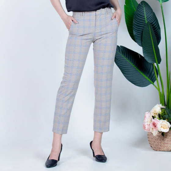 Quần âu nữ công sở dáng côn, 100% polyester không nhăn