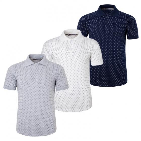 Bộ 3 áo thun nam cổ bẻ họa tiết ô vuông chuẩn mọi phong cách Pigofashion AHT19 xann đen, trắng, xám