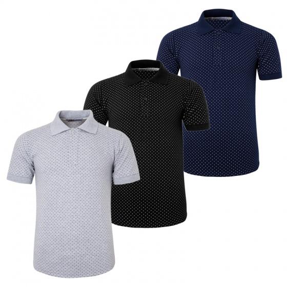 Bộ 3 áo thun nam cổ bẻ họa tiết ô vuông chuẩn mọi phong cách Pigofashion AHT19 xanh đen, đen, xám