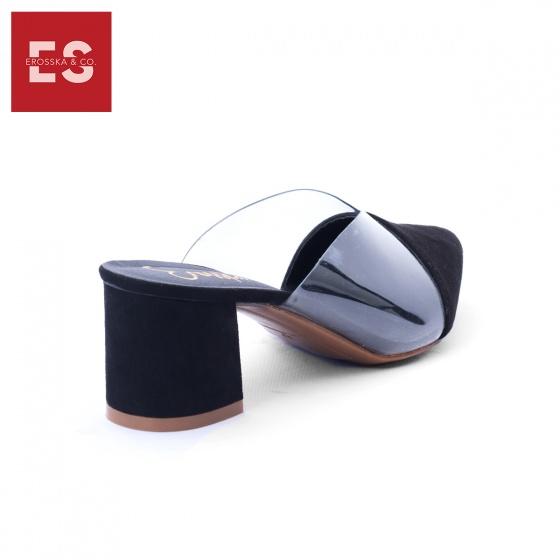 Giày nữ, giày mules phối mica trong suốt Erosska đế vuông cao 5cm - EM021 (BA)
