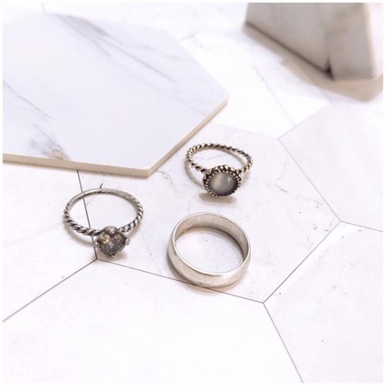 Set 3 nhẫn midi ring black gem - Tatiana - NH2467