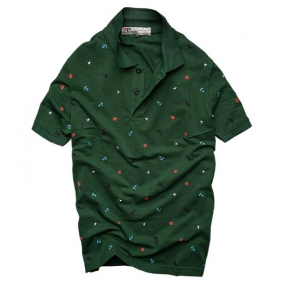 Bộ 3 áo thun nam cổ bẻ họa tiết biển xanh chuẩn mọi phong cách Pigofashion cao cấp AHT20 xanh rêu, đỏ, xám