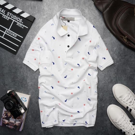 Bộ 3 áo thun nam cổ bẻ họa tiết biển xanh chuẩn mọi phong cách Pigofashion cao cấp AHT20 xanh đen, trắng, xám