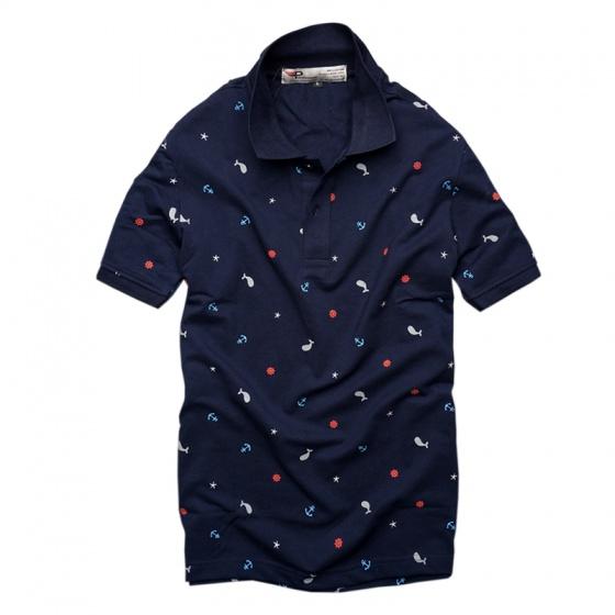 Bộ 3 áo thun nam cổ bẻ họa tiết biển xanh chuẩn mọi phong cách Pigofashion cao cấp AHT20 xanh đen, xanh rêu, đỏ