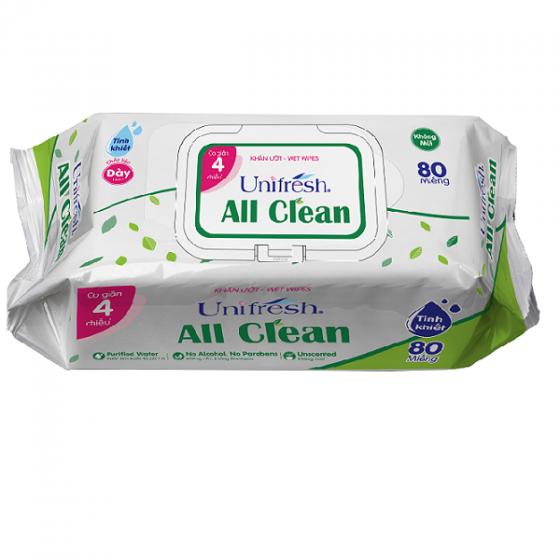 Combo 4 gói khăn ướt Unifresh All Clean 80 tờ - khăn ướt không mùi Unifresh
