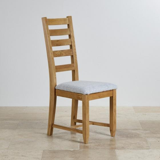 Ghế bàn ăn 100% gỗ sồi Holy bọc vải nỉ trắng xám  - Cozino