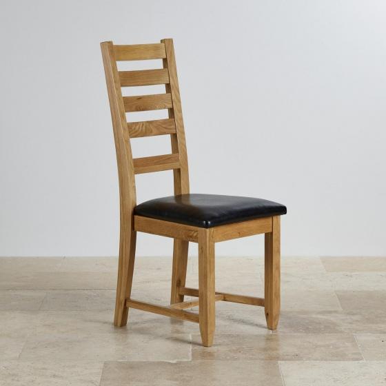 Ghế bàn ăn 100% gỗ sồi Holy bọc simili nâu - Cozino