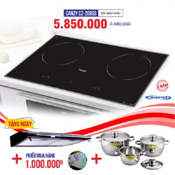 Bếp từ đôi cảm ứng CANZY CZ-200SS tặng hút mùi, bộ nồi nhà bếp cao cấp Fivestar