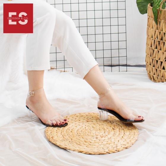 Giày nữ, giày cao gót block heel quai trong Erosska đế vuông cao 5cm - EM010 (NU)