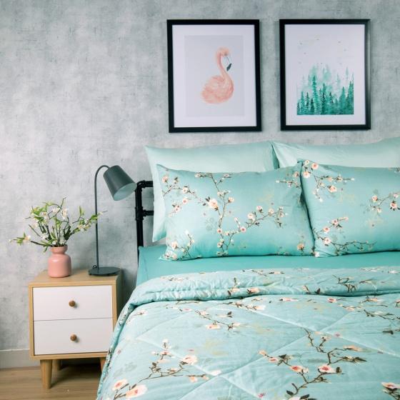 Bộ chăn drap cotton satin Hàn Quốc 5 món Pastel Blossom 02 1m8x2m