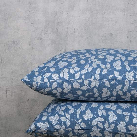 Bộ chăn drap cotton satin Hàn Quốc 5 món Sketchy Leaves 01 1m8x2m