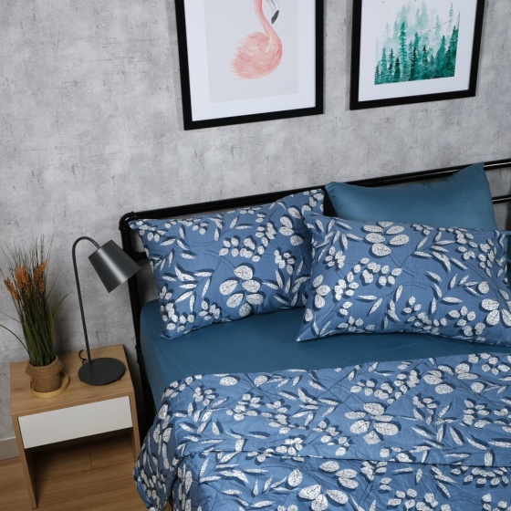 Bộ chăn drap cotton satin Hàn Quốc 5 món Sketchy Leaves 02 1m8x2m