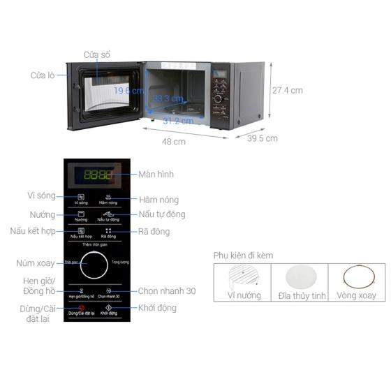 Lò vi sóng inverter có nướng Panasonic NN-GD37HBYUE 23 lít