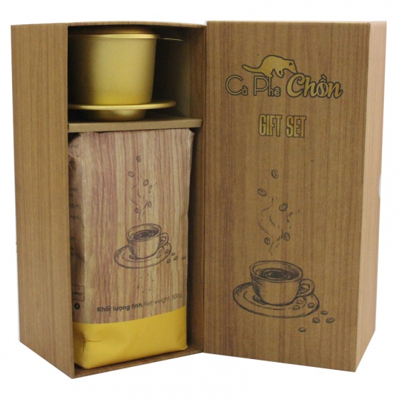 Combo hộp quà cà phê chồn 500g + bột kem pha cà phê 170g