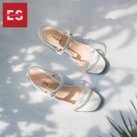 Glày nữ, giày cao gót block heel Erosska đế vuông quai mảnh tinh tế cao 7cm - EM019 (NU)