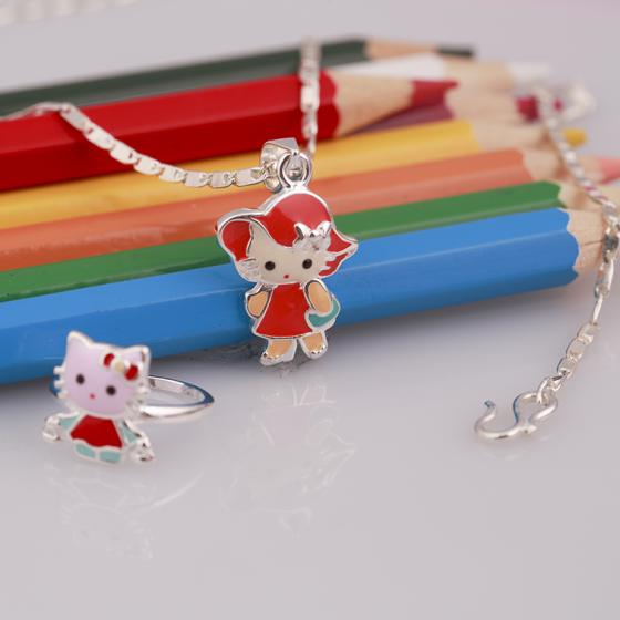Opal - set dây chuyền bạc và nhẫn kitty đa sắc cho bé gái - T8