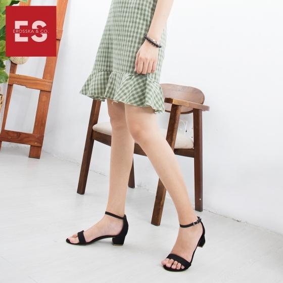 Giày nữ, giày cao gót đế vuông Erosska da lộn bít gót dây mảnh EB001 (NU)