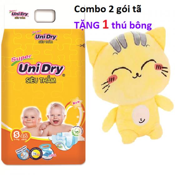 (Tặng 1 thú bông con mèo) combo 2 tã dán Unidry size S46 _ size M42