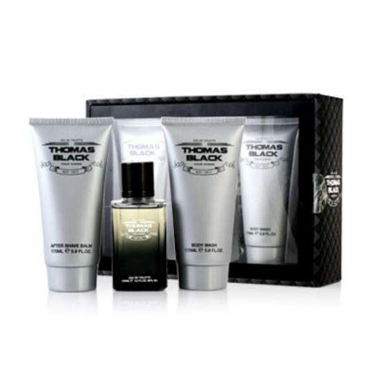 Bộ nước hoa, sữa tắm, kem dưỡng sau cạo râu cho nam Thomas Black Gift Set 3pc