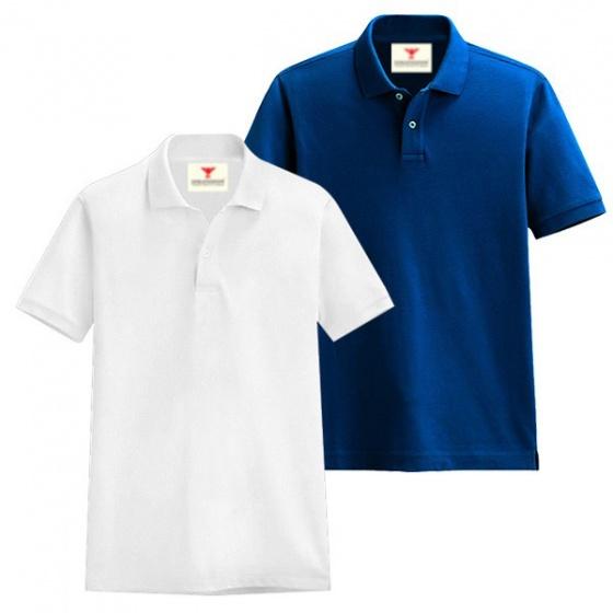 Áo thun nam cổ bẻ vải cá sấu cao cấp dokafashion, combo 2 áo, (trắng, xanh dương)