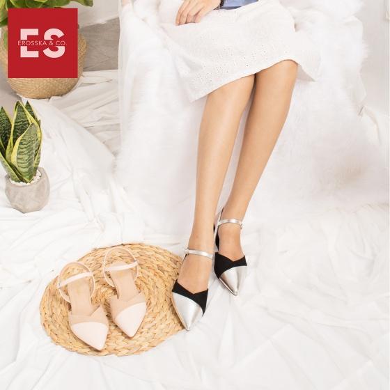 Giày nữ, giày cao gót kitten heel Erosska mũi nhọn tinh tế kiểu dáng cách điệu - EL006 (BA)