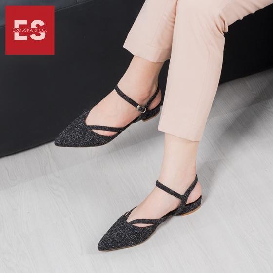 Giày nữ, giày cao gót slingback erosska mũi nhọn cao 2cm phối dây thời trang kiểu dáng basic - EL008 (BA)