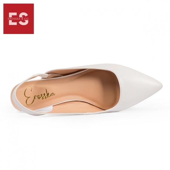 Giày nữ, giày cao gót vuông slingback Erosska quai mảnh độc đáo cao 3 cm EL009 (WH)