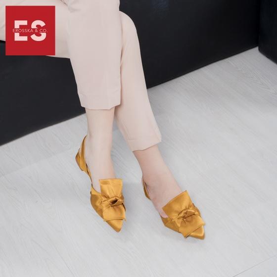 Giày nữ, giày đế bệt mũi nhọn phối nơ thời trang Erosska EL010 (YE)