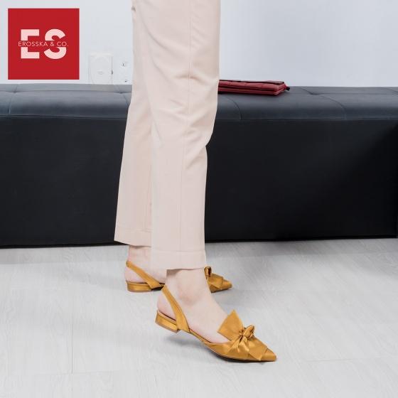 Giày nữ, giày đế bệt mũi nhọn phối nơ thời trang Erosska EL010 (BA)