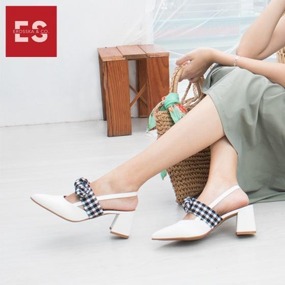 Giày nữ, giày cao gót slingback phối nơ hở gót cao 5cm erosska EH028 (màu trắng)