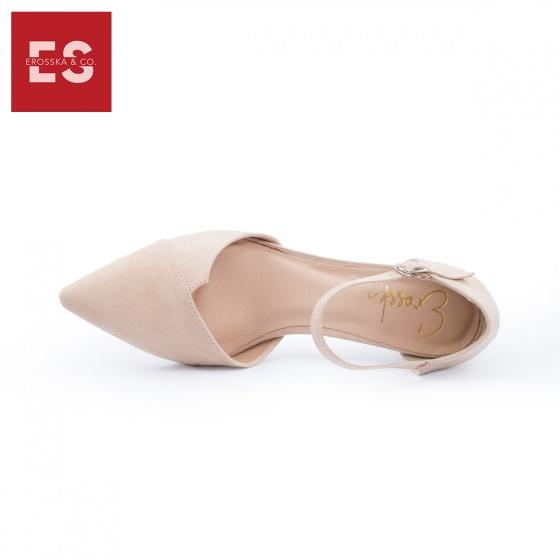 Giày nữ, giày cao gót kitten heels Erosska mũi nhọn phối dây gót vuông cao 5cm EK002 (BA)