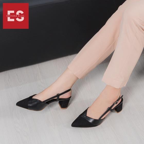 Giày nữ, giày cao gót slingback erosska mũi nhọn phối dây gót vuông cao 5cm - EK003 (BA)
