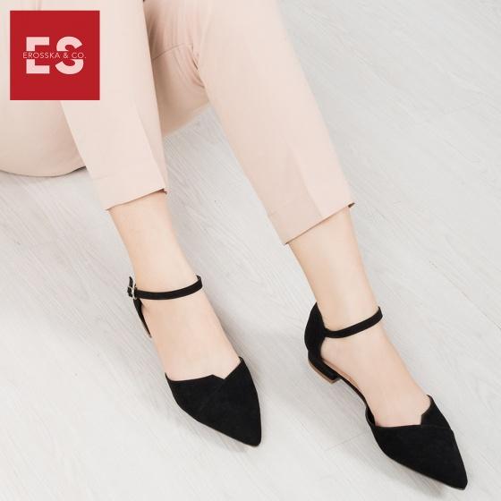 Giày nữ, giày đế bệt mũi nhọn phối dây thời trang Erosska EK004 (BA)
