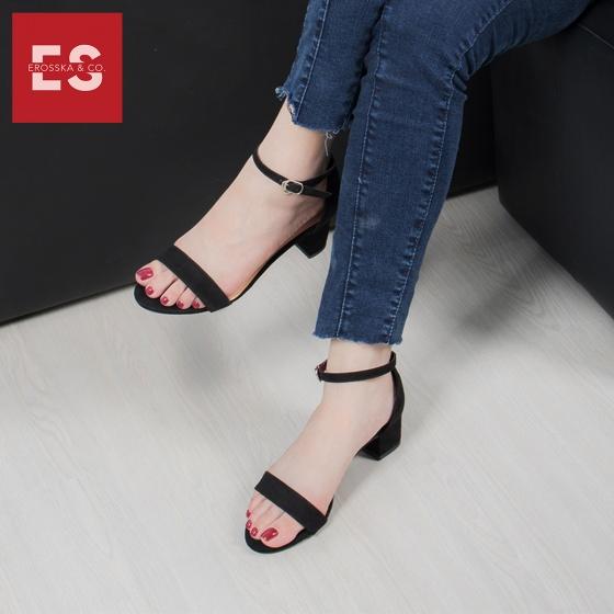 Giày nữ, giày cao gót vuông block heels Erosska hở mũi quai mảnh thời trang cao 5 phân EB004 (NU)