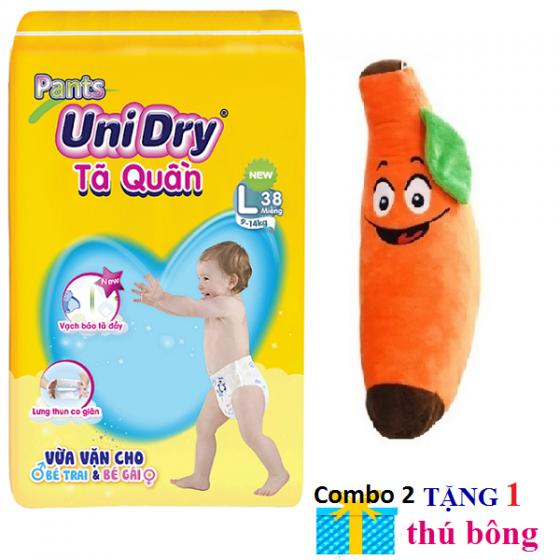 (Tặng 1 thú bông trái chuối) combo 2 gói tã quần Unidry size M42 _size L38 _ size XL34