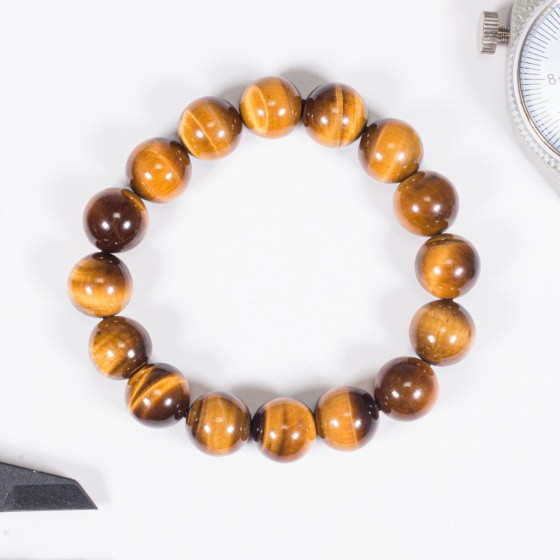Vòng tay phong thủy đá mắt hổ vàng nâu 12mm mệnh thổ, kim - Ngọc Quý Gemstones