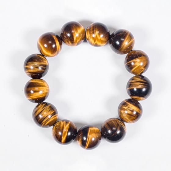 Vòng tay phong thủy nam đá mắt hổ vàng nâu 14mm mệnh thổ , kim - Ngọc Quý Gemstones