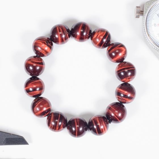 Vòng tay phong thủy nam đá mắt hổ nâu đỏ 14mm mệnh hỏa , thổ - Ngọc Quý Gemstones