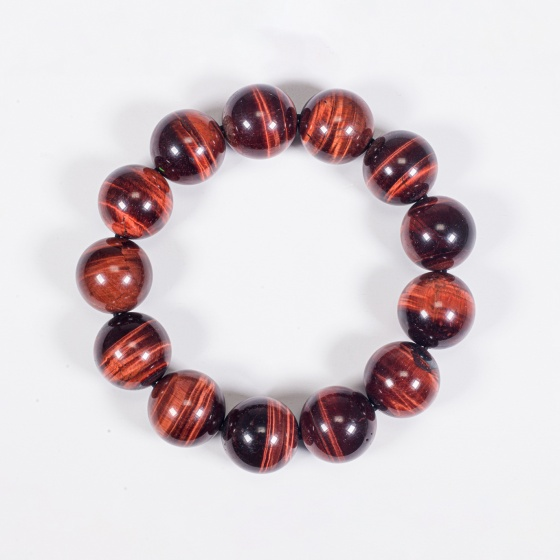 Vòng tay phong thủy nam đá mắt hổ nâu đỏ 16mm mệnh hỏa , thổ - Ngọc Quý Gemstones
