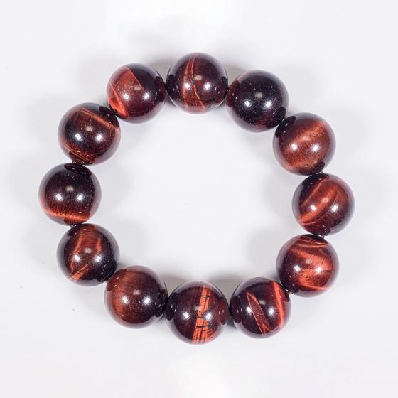 Vòng tay phong thủy nam đá thạch anh mắt hổ nâu đỏ 18mm mệnh hỏa , thổ - Ngọc Quý Gemstones