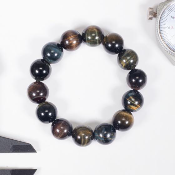 Vòng tay phong thủy nam đá mắt hổ xanh đen 14mm mệnh thủy, mộc - Ngọc Quý Gemstones